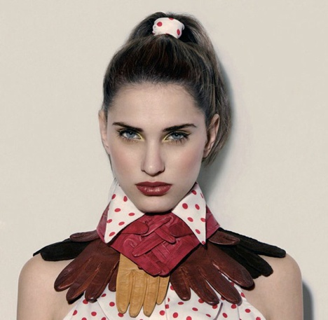 Upcycled glove collar. Salvation Army clothes turn runway ready--check out this gallery of images!