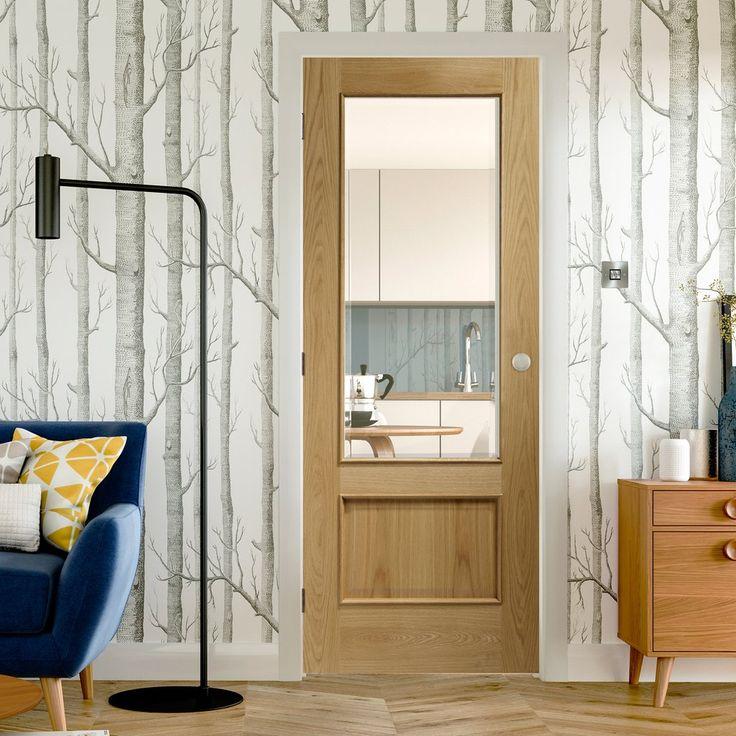 Andria Oak 1 Pane Door with Bevelled Clear Safe Glass. #eleganceandsimplicity #oakdoor #glazedoakdoor