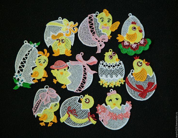 Купить 10 пасхальных цыплят. - белый, кружевные подвески, подарок на Пасху, Пасха, пасхальный сувенир