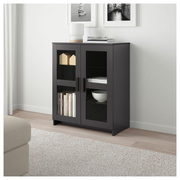IKEA BRIMNES Glass, Black Cabinet with doors | Cabinet ...
