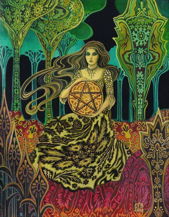 Queen of Pentacles Tarot Goddess Art Original by EmilyBalivet, $700.00