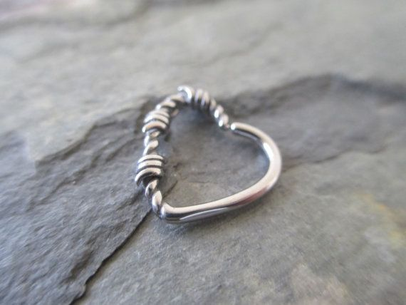 Barbed Wire Silver Heart Daith or Cartilage Ear Piercing Left or Right Side