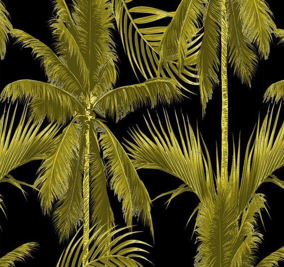 Gold Palm Wallpaper Versace Wallpaper Removable Wallpaper Etsy Palm Wallpaper Versace Wallpaper Jungle Wallpaper