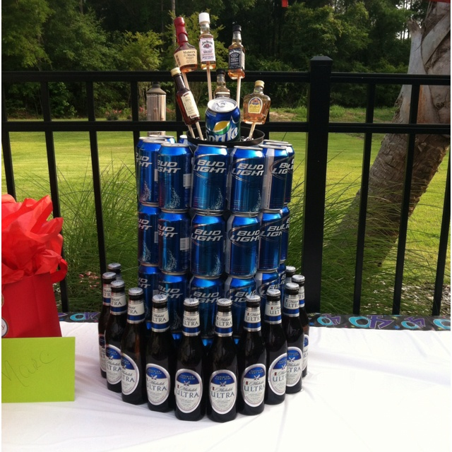 BEER TOWER- This would be cute for a superbowl party or men's birthday party or Just a Backyard BBQ