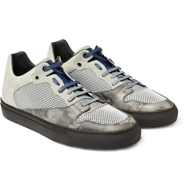BALENCIAGA  MESH AND LEATHER SNEAKERS