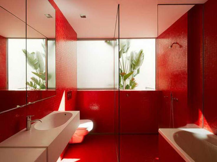 Creating A Stylish Bathroom Wall Tiles Design With Red Facinating Colour ~  Http:// Great Ideas