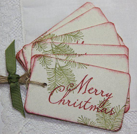 Handmade Christmas Gift Tags Pine Leaf Tags | Etsy