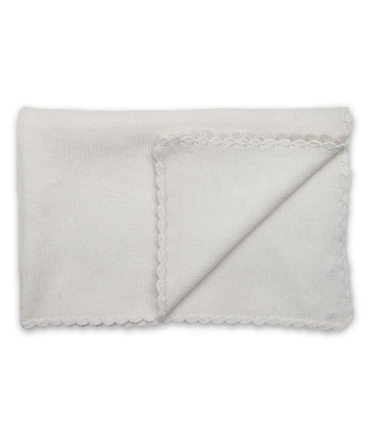 Cashmere Baby Blanket with Crochet Trim in Creme