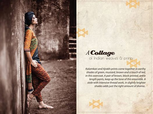 Kalamkari and Ajrakh prints come together in earthy shades of green, mustard, brown and a touch of red, in this overcoat. A pair of brown, block-printed, ankle length pants, keep up the tone of this ensemble. A stole with intensive thread work, in slightly brighter shades adds just the right amount of drama.#indianbychoice