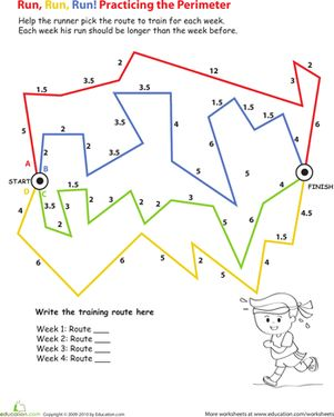 In this 3rd grade math worksheet, your child will practice calculating perimeter and adding whole and half numbers.