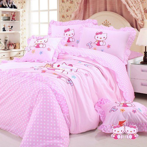 DIAIDI,Hello Kitty Bedding Set,Hello Kitty Bed In A Bag,Pink Princess Bedding Sets,Kids Bedding,Polka Dot Bedding Set,Queen Twin Size,4Pcs (twin) DIAIDI,HELLO KITTY to buy just click on amazon here http://www.amazon.com/dp/B00CRRN0YW/ref=cm_sw_r_pi_dp_TdCDsb17KZDE08YH