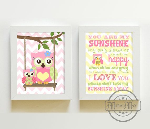 You Are My Sunshine My only Sunshine - Owl Art for Kids Room, Kids Wall Art Baby Girl Nursery,Owl  Decoration, Match With Happi Tree Bedding on Etsy, $35.00