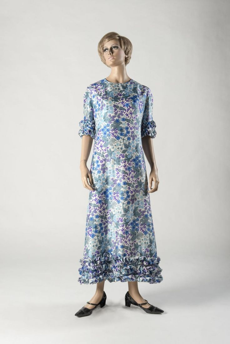 Dress, printed Liberty silk, by Jean Muir for Jane and Jane Shoes by Christian Dior at Charles Jourdan. Chosen by Fashion Writers' Association