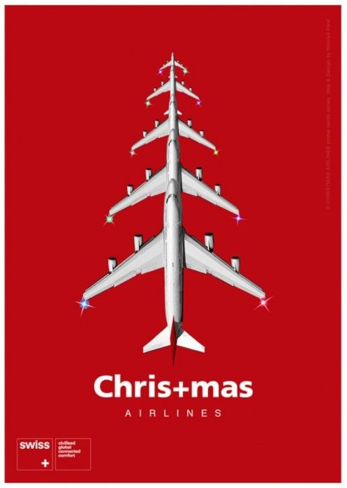 SWISS Christmas ad. Make a great use of the a concept by overlapping and repeating an airplane in order to emulate a Xmas tree. The contrast between foreground and background is quite strong and the red color reminisce the Swiss flag and this festivity feeling.
