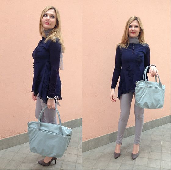 Midnight blue (by Coco Lavieenrose) http://lookbook.nu/look/4777291-Bucl-Midnight-Blue-Blouse-Nannini-Shopper-Fab