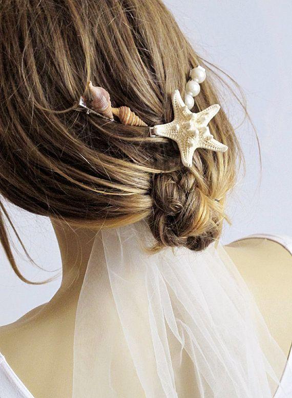Beach wedding Sea Shells  hair pins starfish pearl by selenayy