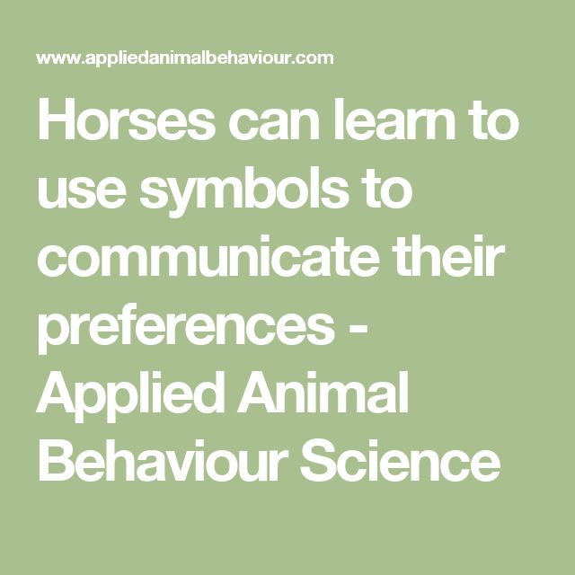 Horses can learn to use symbols to communicate their preferences - Applied Animal Behaviour Science
