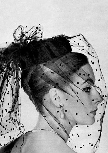 Christian Dior 1958.  Love. I even have hats like this from the 80's.  And those earrings.                                                                                                                                                                                 More