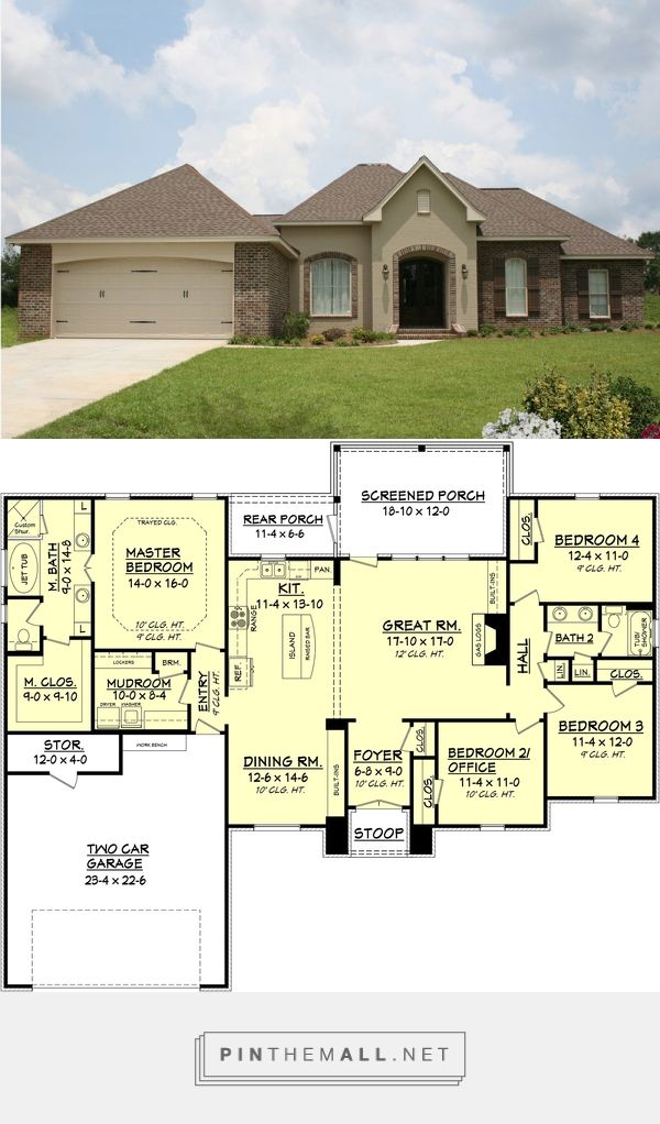 European Style House Plan - 4 Beds 2 Baths 2000 Sq/Ft Plan #430-74 - created via https://pinthemall.net