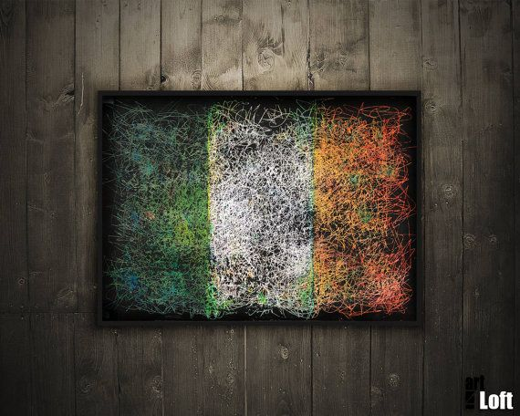 Hand-Painted Flag of Ireland-Ireland Flag-Distressed by ArtForLoft