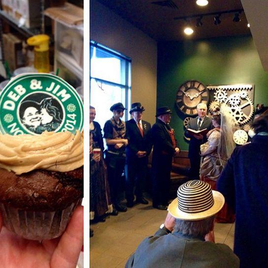 Starbucks steampunk wedding. Yes this wedding happened inside starbucks.