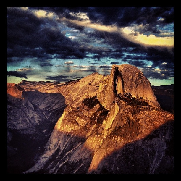 The awesome half dome seen at sunset at the Yosemite National Park