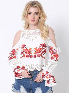 Algodão branco blusa laço redondo pescoço ombro frio Bell longa manga Floral bordado a blusa para mulheres