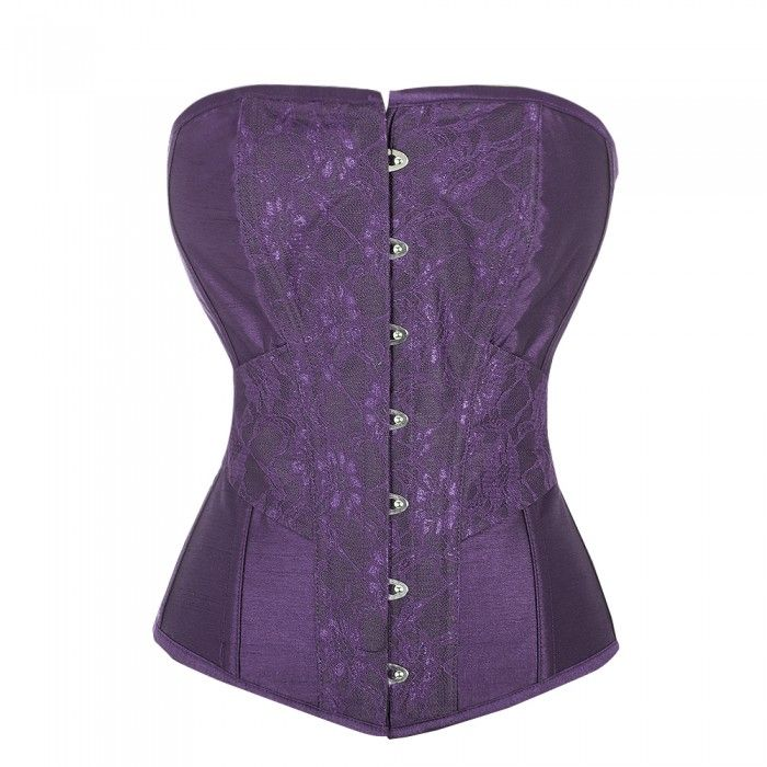 Vintage Inspired Straight Line Overbust with Waist Detail and Lace Overlay