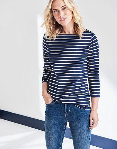 384c2d5908c Women s Essential Breton Top in Navy White Linen Stripe