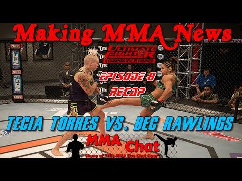 TUF 20 Episode 8 Recap - Tecia Torres vs. Bec Rawlings  -  On 'The MMA Live Chat Show' Season 2 Episode 60 show, Rich Davie briefly discusses the TUF 20 episode 8 show featuring the fight between Tecia Torres and Bec Rawlings.  @RichDavie @MMALiveChatHour #TUF20 #TeciaTorresVsBecRawlings #TorresVsRawlings #TeciaTorres #BecRawlings #MMALiveChatShow #MMA #MMAChat  Recorded : Thursday November 13, 2014  Published : Thursday November 13, 2014