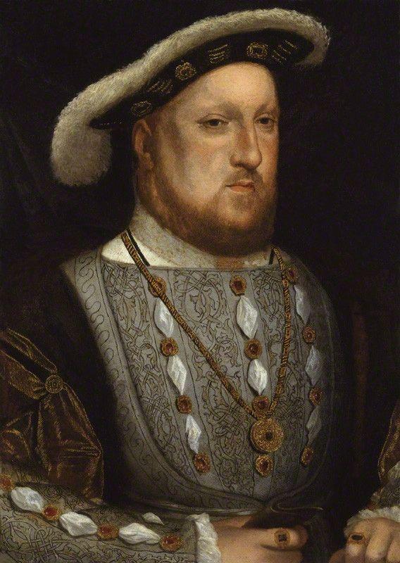 """D'après Hans Holbein le Jeune, """"Henri VIII"""", 1536 . Huile sur cuivre - Henri VIII (né Henry, 28 juin 1491 – 28 janvier 1547) fut roi d'Angleterre et d'Irlande de 1509 à sa mort. Fils d'Henri VII Tudor et d'Élisabeth d'York. Époux de Catherine d'Aragon"""