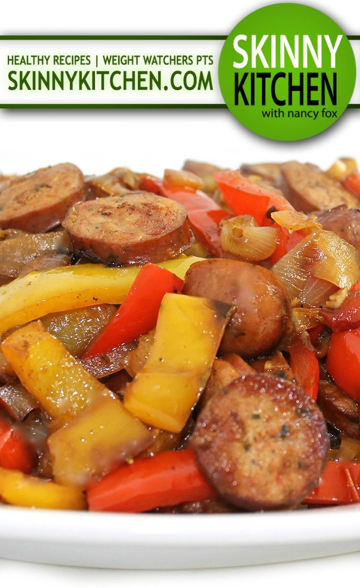 Sausages, Peppers and Onions Made Deliciously Skinny. It's over-the-top delicious! Each dinner size portion has 293 calories, 13g fat & 8 Weight Watchers POINTS PLUS. http://www.skinnykitchen.com/recipes/sausages-peppers-and-onions-made-deliciously-skinny/