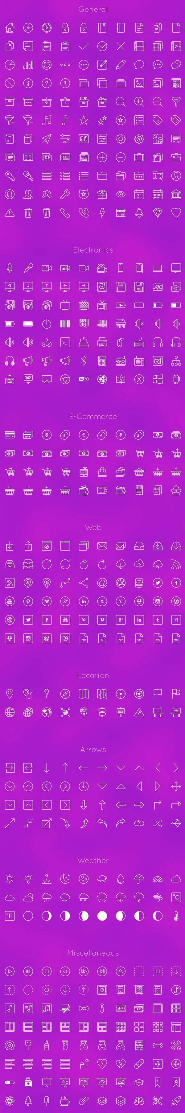 Free Line Icon Set (450 Icons)
