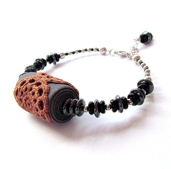 Lace jewelry -  fabric bracelet with crochet doilies in grey, copper and black / beaded lace bracelet / fine jewelry / delicate bracelet