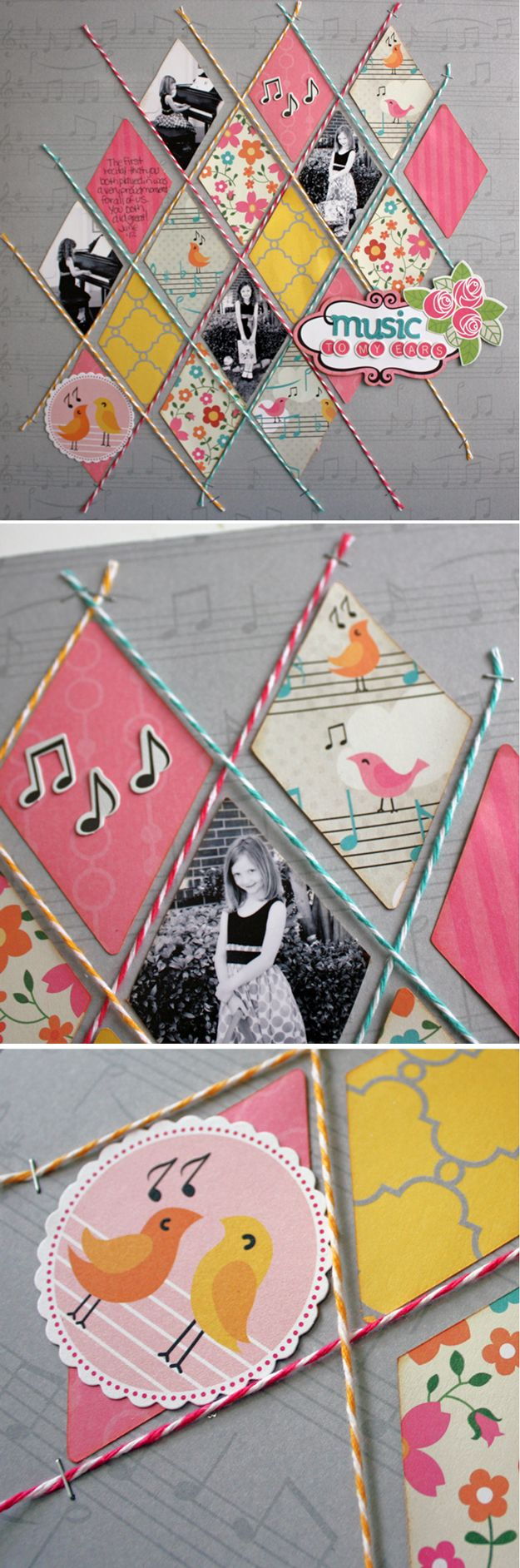 Cute and Cheap DIY Scrapbook Ideas | Diamond Twine by DIY Ready at http://diyready.com/cool-scrapbook-ideas-you-should-make/