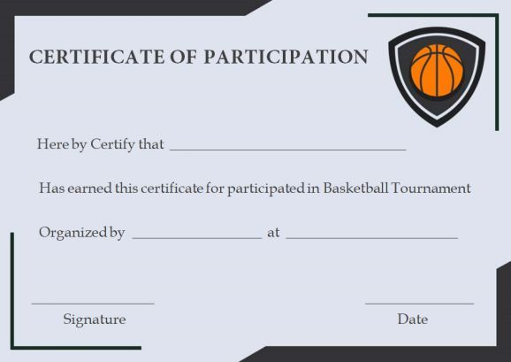 Free Basketball Participation Certificate Free Basketball Certificate Templates Basketball Tournament