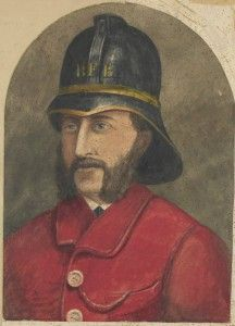 A watercolour of a Ballarat fireman from 1880.