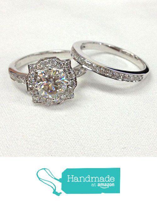 Round Moissanite Diamond Engagement Ring Bridal Set Pave Diamond Wedding 14K White Gold 7mm Art Deco Vintage from the Lord of Gem Rings https://www.amazon.com/dp/B01HIZ0O78/ref=hnd_sw_r_pi_dp_eFSGxbF4HFH9Q #handmadeatamazon