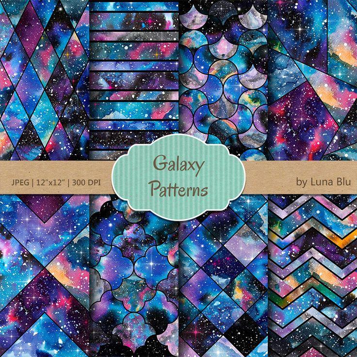 "Galaxy Scrapbook Paper, ""Galaxy Patterns"" watercolor galaxy digital paper, nebula digital paper, night sky digital paper, galaxy backgrounds by Lunabludesign on Etsy"