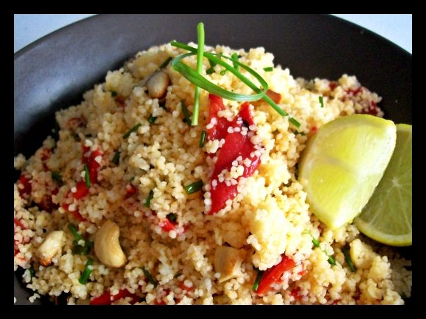 Couscous Salad with Grilled Peppers Chives and Cashew nuts