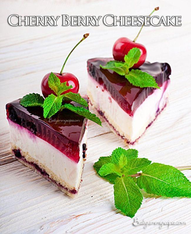Cherry Berry Cheesecake - bestyummyrecipes.com