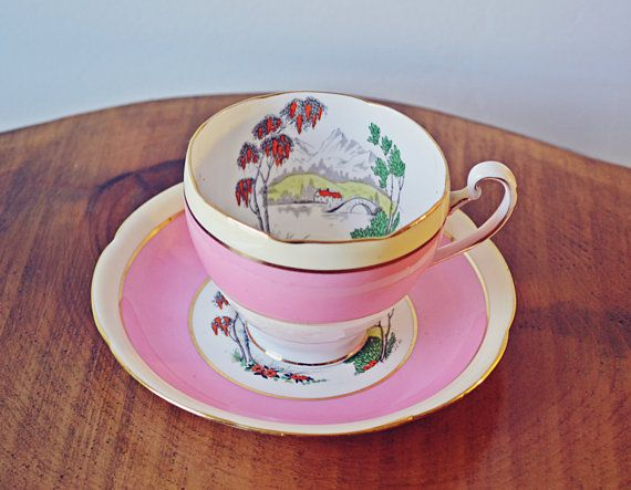 Grafton BAJ & Sons Teacup And Saucer Hand Painted Enamel