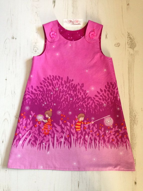 A Line Dress Age 2 YearsBeautiful Wee Wander Magenta Fabric By sewadorableshop Tissus Mickael Miller ?