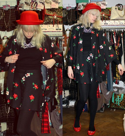 24-11-13 - Motel Rocks Kimono Jacket in Red Pansie Flower RRP £50 - Rokii save 20% £40, Motel Rocks Andrea Button through A-Line Skirt in Red Pansie Flower RRP £28 Save 20% Rokii £21, Necklace £7.00, Red Wool Bowler hat £9  Rokii Portsmouth rokii.co.uk   Hat, Jacket, Skirt, necklace, earings all Rokii Portsmouth   Motel Rocks Kimono Top In Red Pansie Flower Rrp £50 Rokii £40, Motel Rocks Andrea Skirt In Red Pansie Flower Rrp £28   Rokii £21, Rokii Diamante Necklace £8, Rokii Red Bowler Hat…