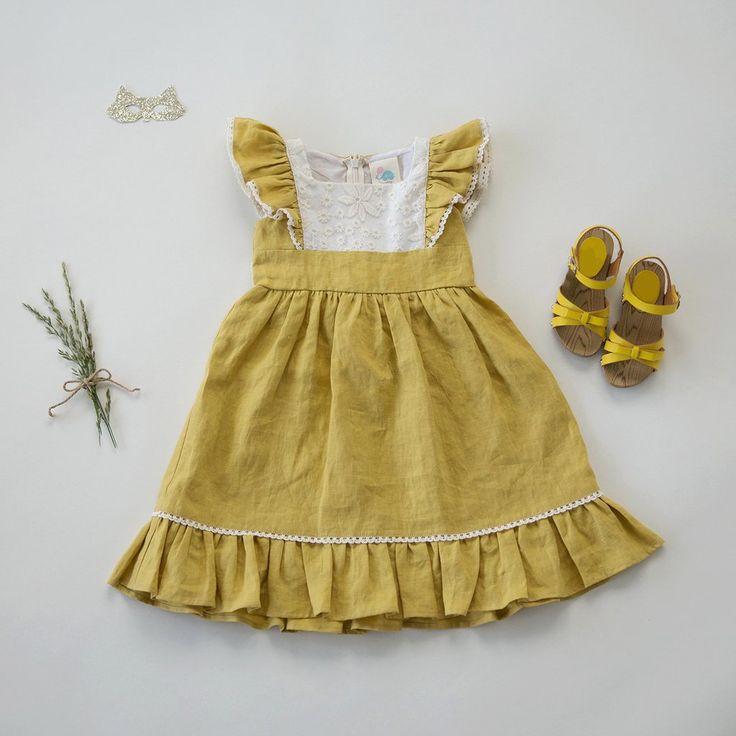 Flutter Dress - Buttercup Linen (Size 2/3 Only)