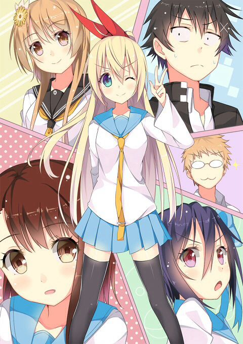 Nisekoi- top left corner: Tachibana Marika, Top right corner: Ichijo Raku, bottom left corner: Onodera Kosaki, center right side: Maiko Shu, bottom right corner: Tsugumi Seishirō, and center: Kirisaki Chitoge