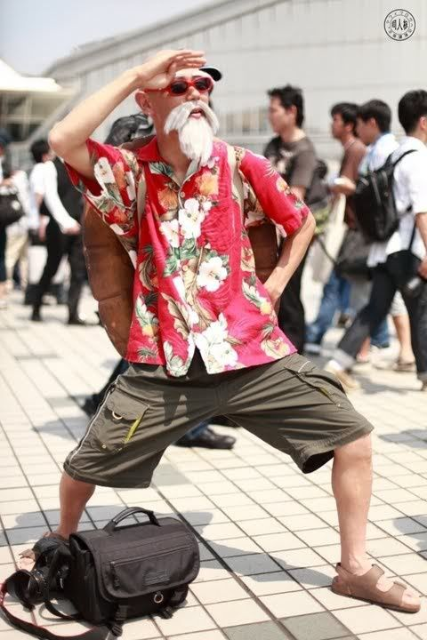 Master Roshi cosplay - Dragon Ball Z When me and my hubs is old as hell, we will dress as roshi and bahbah.