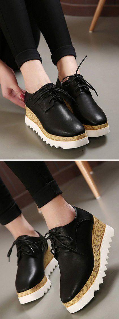 Black Platform Shoes With Squard Toe