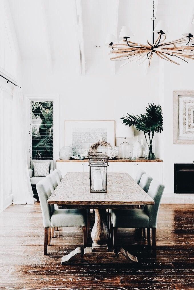 The thing I love most about looking at other peoples spaces is discovering the unique accents that go into each and every room. Take this dining room for example, who would have thought adding twigs to your chandler would add so much character! Love this unique addition. #twig #diyhomedecor #decorlovin