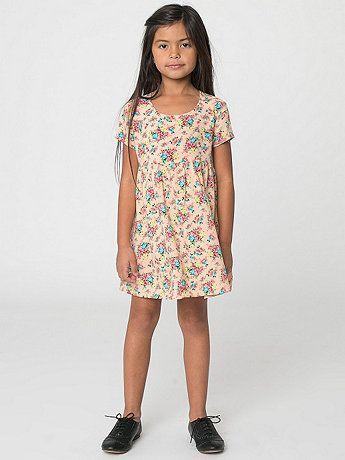 American Apparel - Kids Printed Rayon Challis Babydoll Dress
